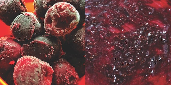 An image of frozen sweet cherries, and an image of how they look when they've been cooked.